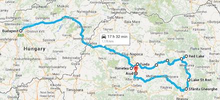 Az erdélyi utazás térképen