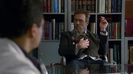 House 5×18 - House egy macskával az ölében és szivarral a kezében ül, James Bond ellenségét parodizálva.