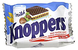 Knoppers csokol�d�s-, mogyor�s- �s tejes ostya