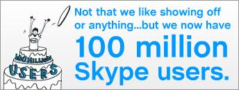 Százmillió Skype Felhasználó