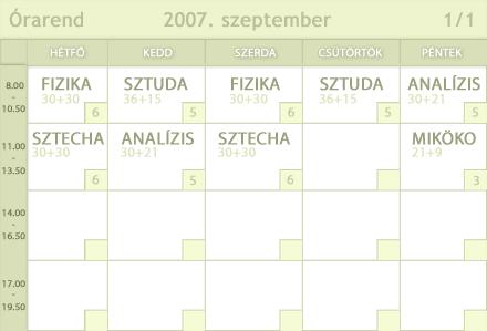 2007. szeptemberi �rarend