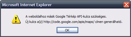 Google API hibaüzenet a Posta oldalán