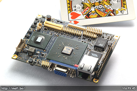 PX-45 - Tal�n a legkisebb alaplap a vil�gon, integr�lt LAN- �s vide�k�rty�val.
