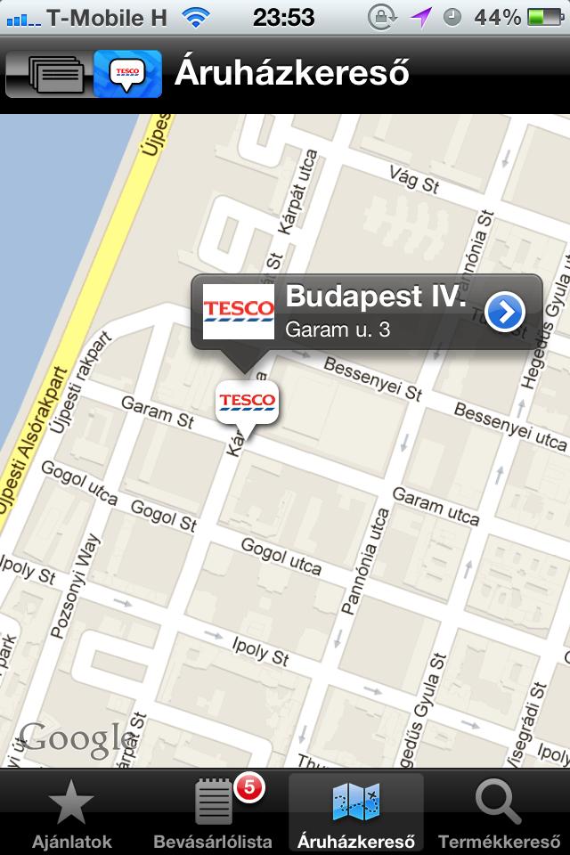 TESCO app és Google Maps bug