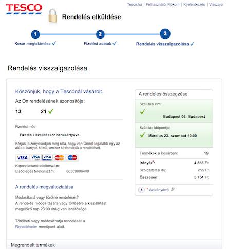 TESCO webáruház sikeres rendelés értesítő
