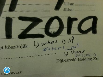 Vízóra-állás leolvasására figyelmeztető plakát, magyarul