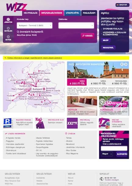 Wizz Air megújult főoldal