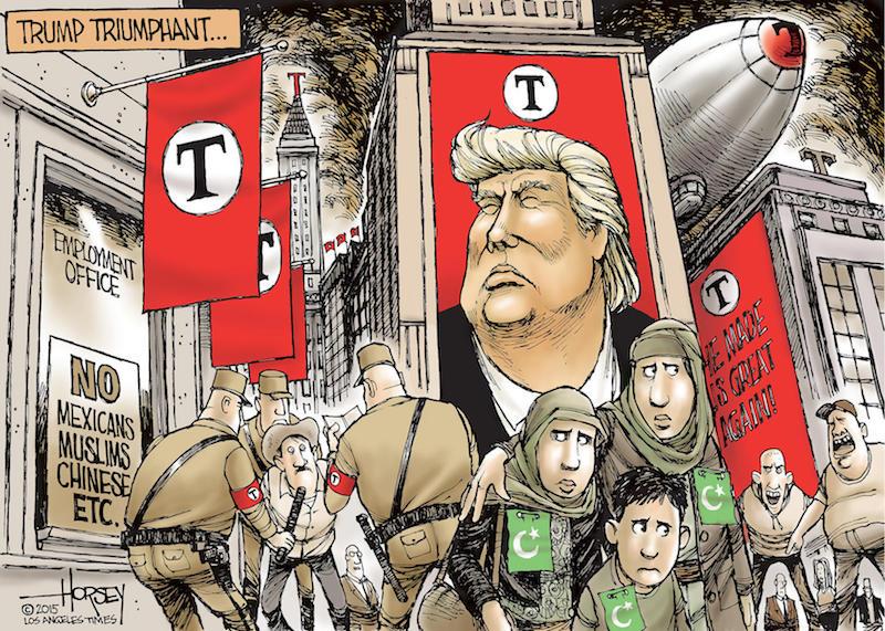 Az LA Times karikatúrája egy képzelt Trump-világképről